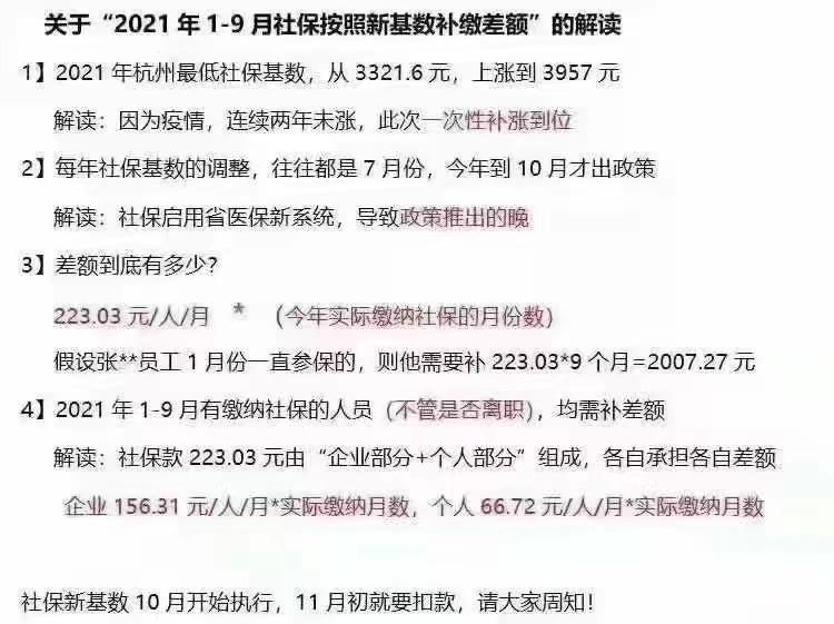 2021杭州最新社保基数 3957